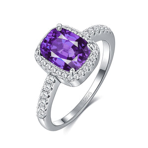 18K White Gold Plated Classic Emerald Cut Amerthyst Purple Swarovski Crystals Ring