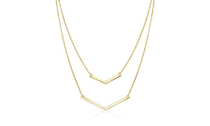 Duo Dangling Chevron Statement Necklace in 18K Gold (Multiple Options), , Riakoob Jewelry, Riakoob Jewelry  jewelryjewelry deals, swarovski crystal jewelry, groupon jewelry,, jewelry for mom,