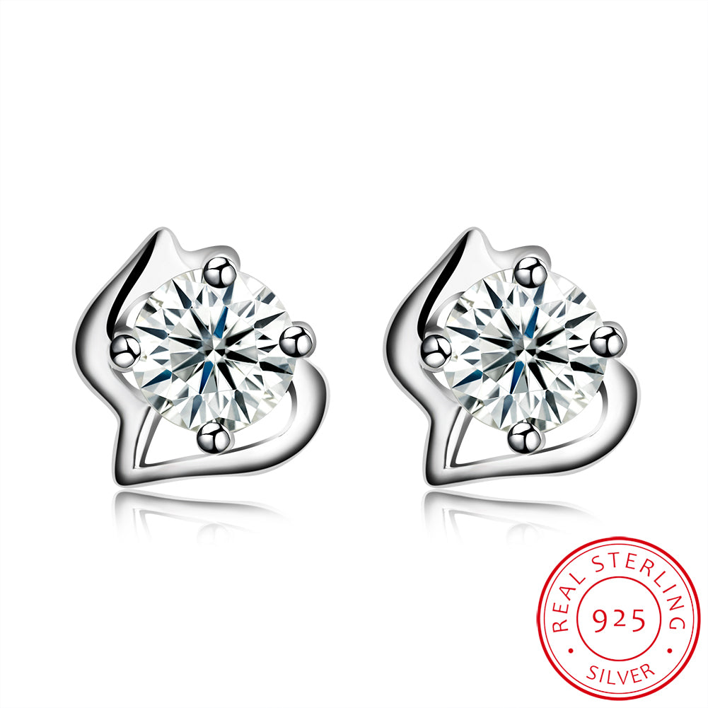 Sterling Silver Stud Earring with  Crystals