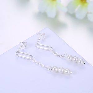 Pearl Sterling Silver Drop Earring with  Crystals