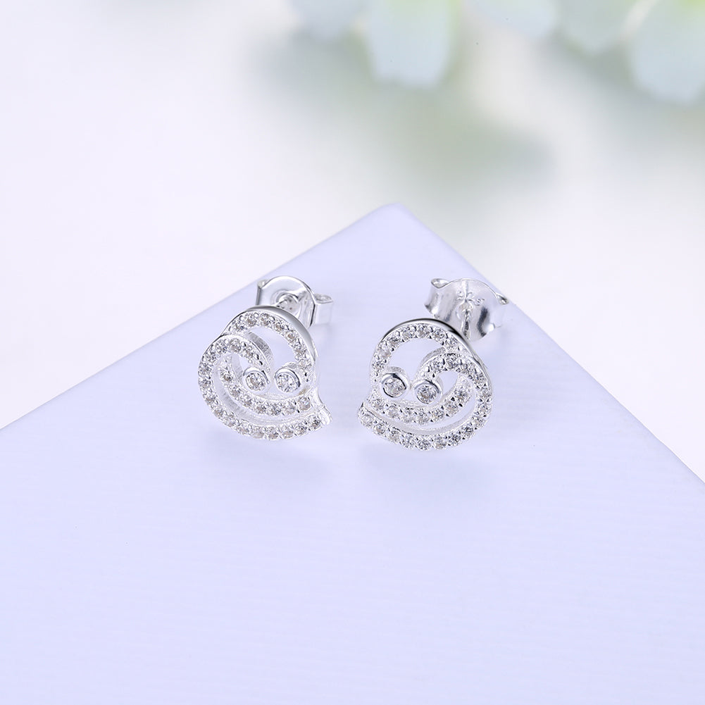 Sterling Silver Earring with  Crystals