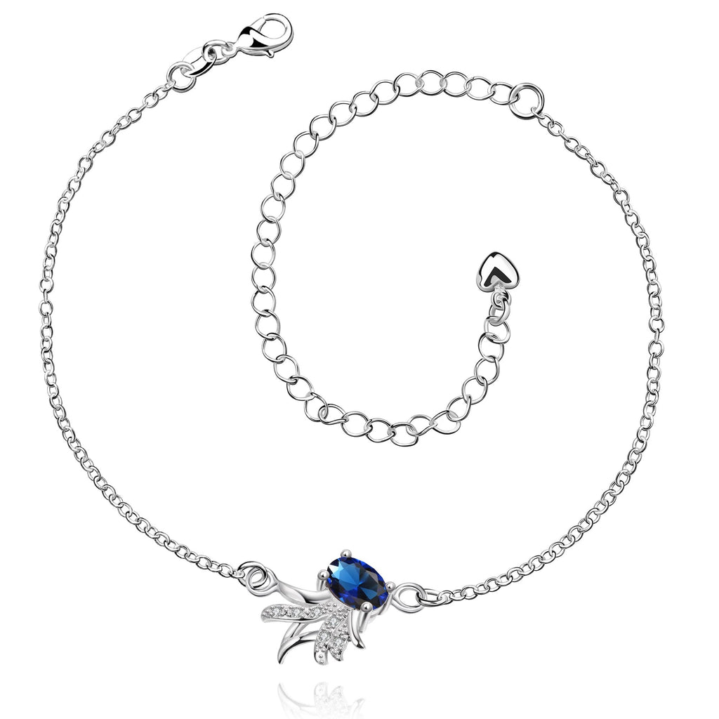 Sapphire Blue Pineapple Anklet in 18K White Gold Plated