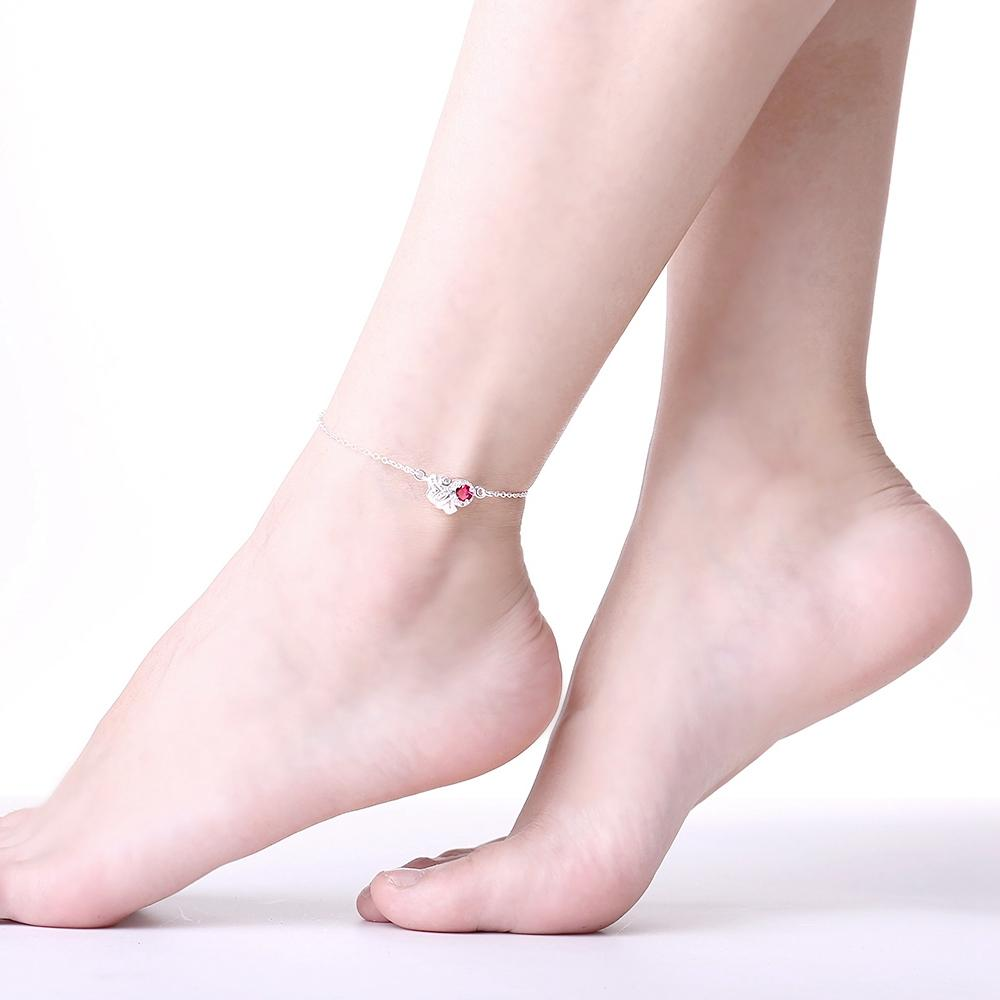 LOVE Ruby Anklet in 18K White Gold Plated
