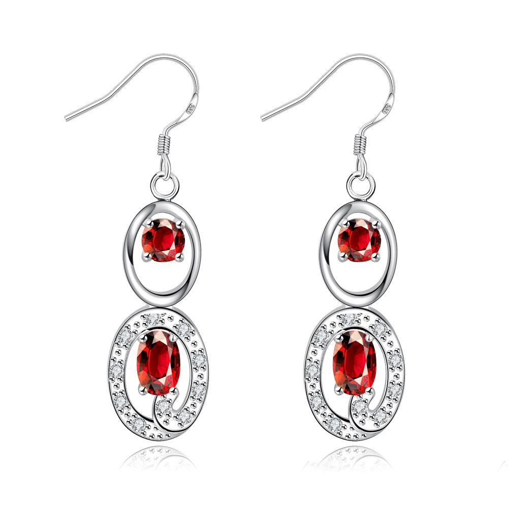 Drop Earring in 18k White Gold Plated with Austrian Crystals