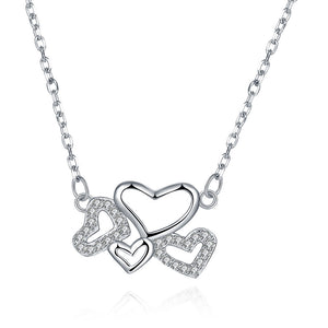 Connecting Hearts Sterling Silver Necklace
