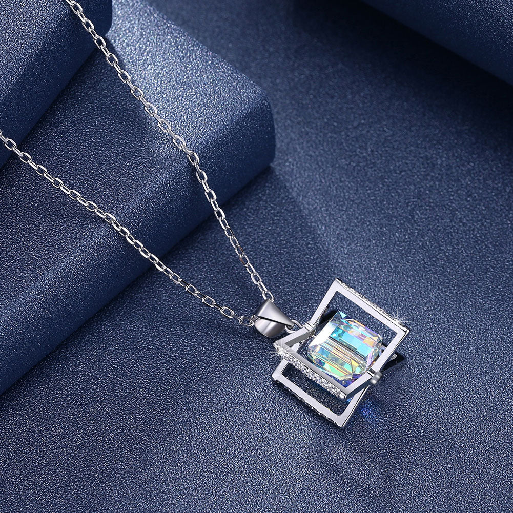 Aurora Borealis Crystal Sterling Silver Necklace with  Crystals
