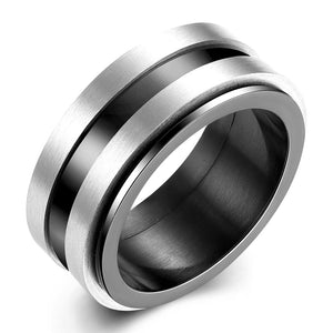 Father's Day Gift Black & Silver Design Ring in 14K Gold Plating