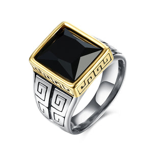 Father's Day Gift Black Crystal Square Signet Statement 14K Gold Plating Ring