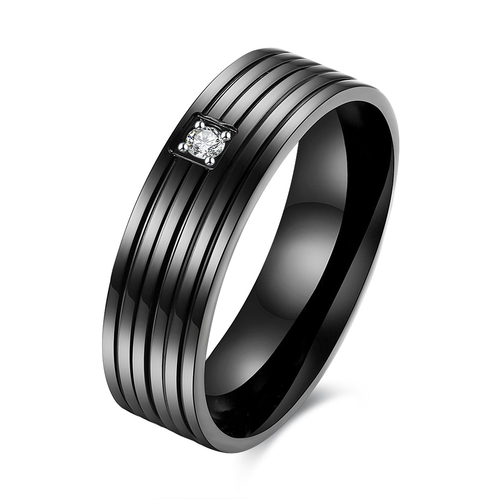 Father's Day Gift Black Gun Plating Vibrate Design Band Ring