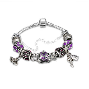 Purple Swarovski Elements Pandora Inspired Princess Chariot Charm Bracelet