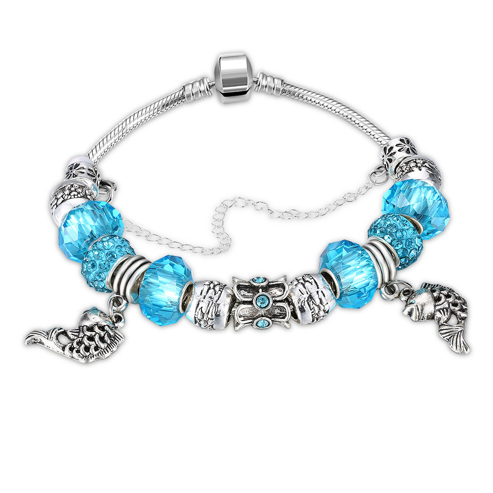 Aquamarine  Elements Pandora Inspired Pisces Bracelet in 14K White Gold Plating