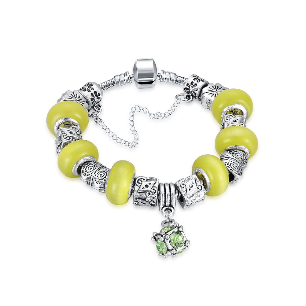 Yellow Swarovski Elements Pandora Inspired Dangling Sphere Charm Bracelet