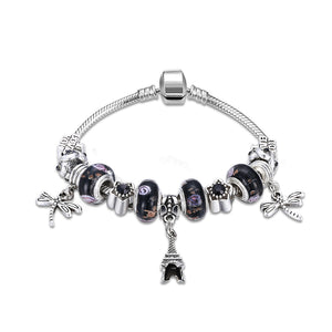 Black Swarovski Elements Eiffel Tower Pendant Pandora Inspired Charm Bracelet