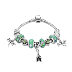 Green  Elements Eiffel Tower Pendant Pandora Inspired Charm Bracelet