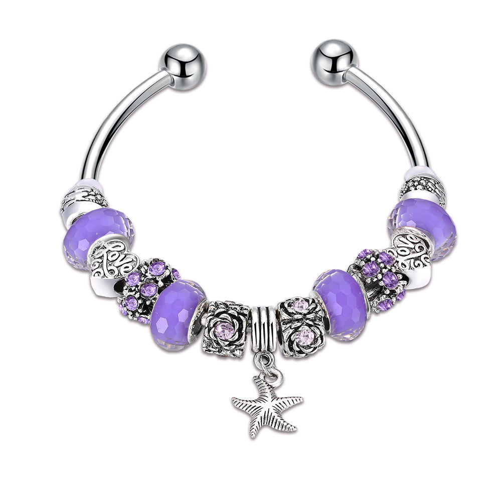 Purple  Elements Pandora Inspired Summer Starfish Charm Bangle