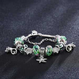 18K White Gold Plated Green Starfish Insipired Pandora Charm Bracelet