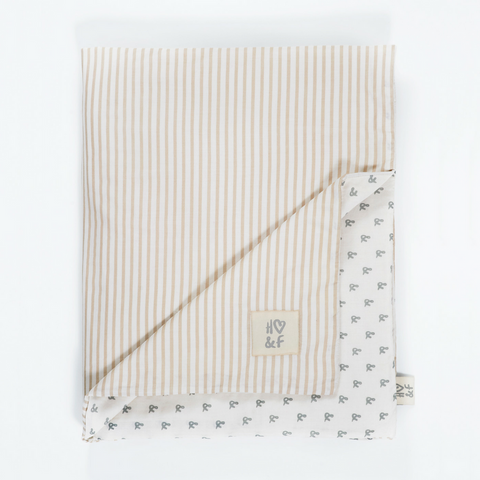 Oatmeal stripe & faded grey print organic cotton baby blanket.