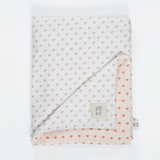 Tabasco heart & oatmeal print organic cotton baby blanket.