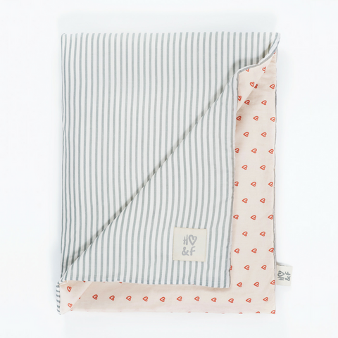 Faded grey stripe & tabasco heart organic cotton baby blanket.