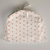 Faded grey stripe and tabasco heart organic cotton baby blanket in drawstring bag