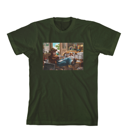 SMOKEY'S OFFICE TEE - Forest Green