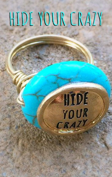 Turquoise & Gold Hide Your Crazy Ring!