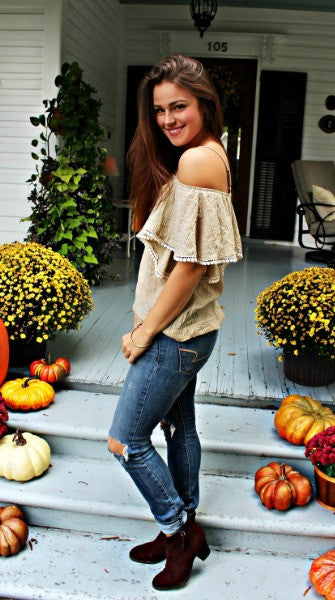 Off Shoulder Pom Sleeve Top