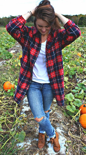 Checkered Plaid Coat