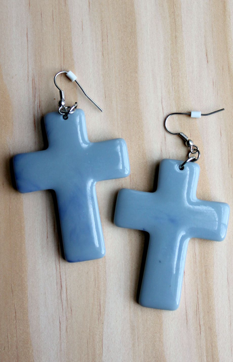 Gray Marble Cross Earrings