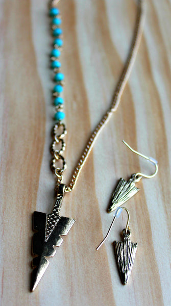 Gold & Turquoise Tribal Arrowhead Necklace & Earrings