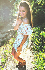 Multi Colored Aztec Cold Shoulder Dress