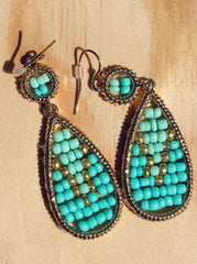 Teardrop Frame Seed Bead Encrusted Ornate Drop Earrings