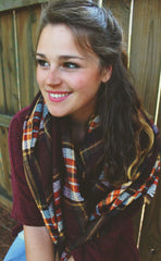 Colors of Fall Plaid Blanket Scarf