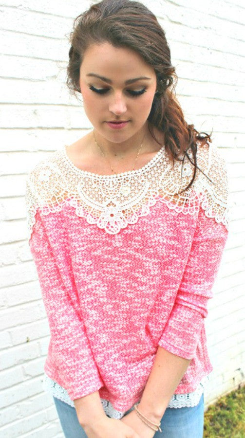 Coral Pink Lace Top
