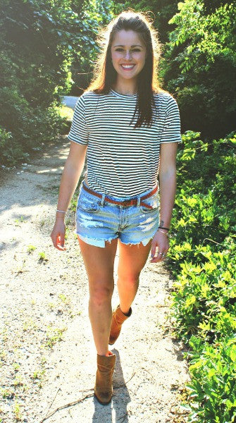 Black & White Striped Side Slit Top