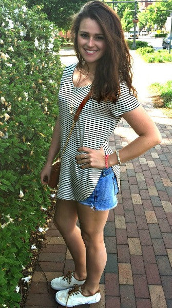 Striped Double Slit High Low Top