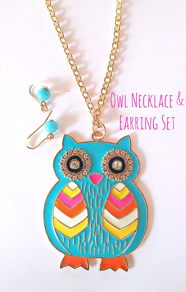 Owl Necklace & Earring Set