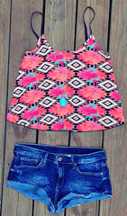 Pink & Blue Tribal Tank