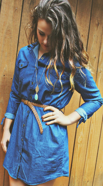 Collared Denim Belt Dress