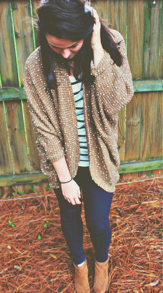 Cozy White Speckled Camel Cardi