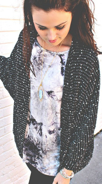 Cozy Black & White Speckled Cardigan