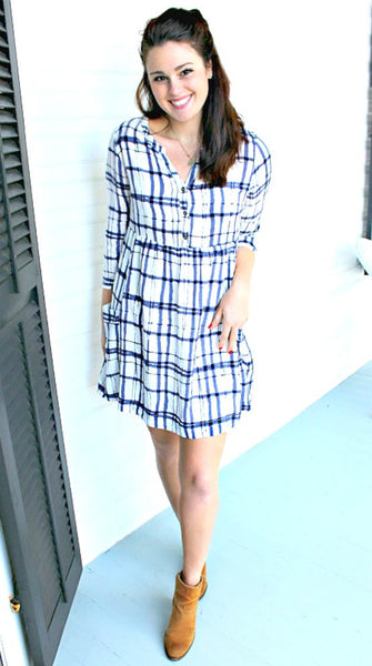 Blue Scratch Pocket Dress