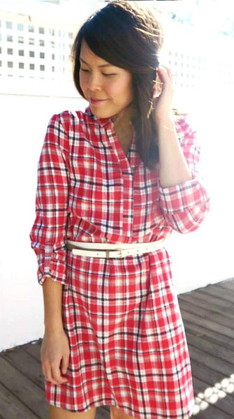 Red & White Plaid Flannel Dress