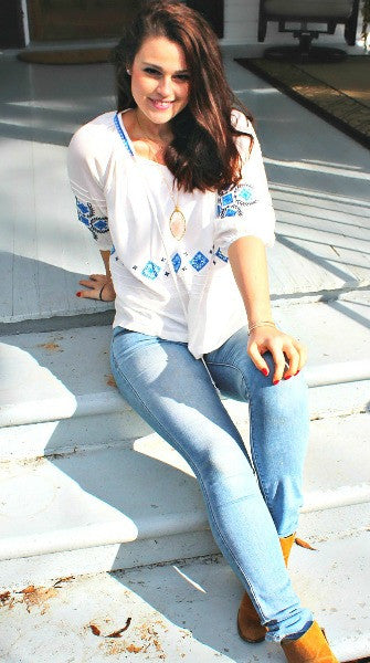 Take Me to Greece Embroidered Tunic Blouse