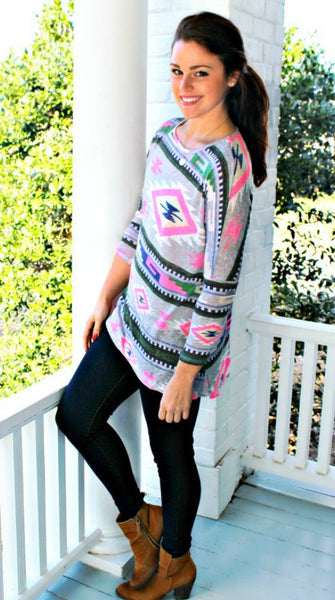 Hot Pink Aztec Top