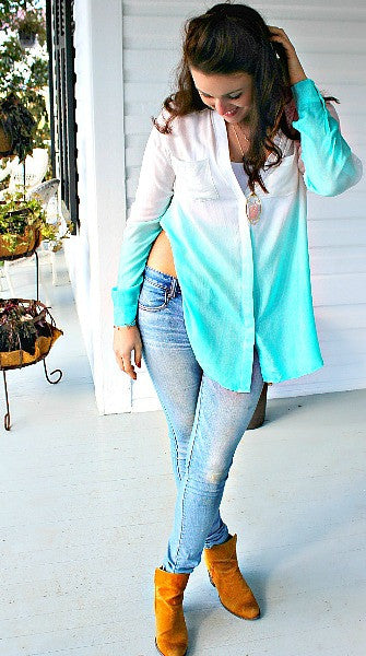 Ombre Mint Flow Top