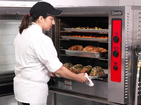 combi oven in use