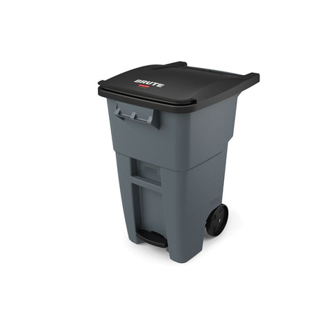 Rubbermaid 1971956 50 Gallon Gray Step-On Rollout Container