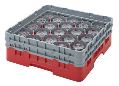 Cambro 25S434151 Camrack Soft Grey 25 Compartment Glass Rack with 2 Extender
