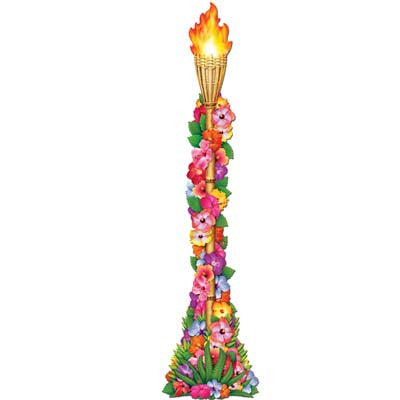Beistle 50468 Jointed Floral Tiki Torch 4 Feet
